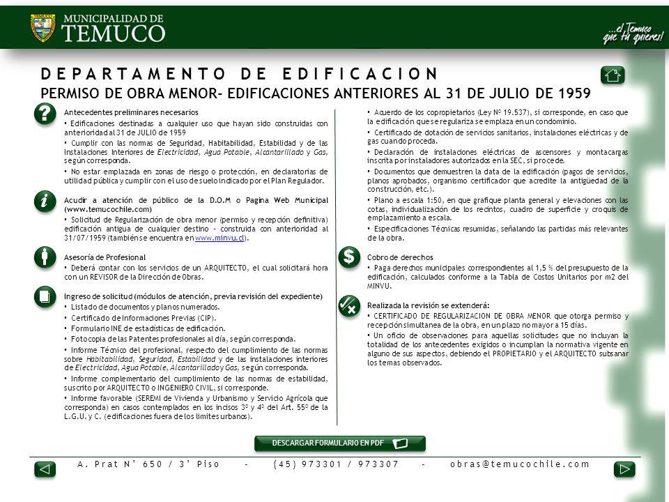 DEPARTAMENTO DE EDIFICACION PERMISO DE OBRA MENOR- EDIFICACIONES ANTERIORES AL 31 DE JULIO DE 1959
