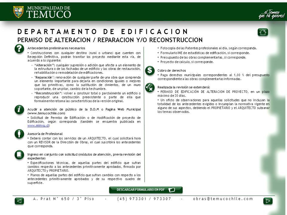 DEPARTAMENTO DE EDIFICACION PERMISO DE ALTERACION / REPARACION Y/O RECONSTRUCCION