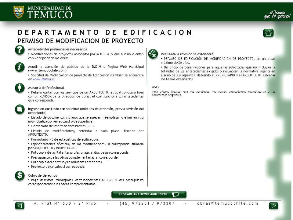 DEPARTAMENTO DE EDIFICACION PERMISO DE MODIFICACION DE PROYECTO