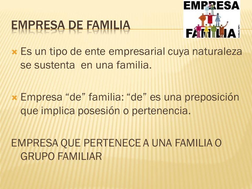 Empresa de familia Es un tipo de ente empresarial cuya naturaleza se sustenta en una familia.