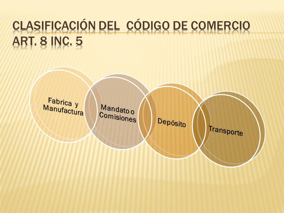 Clasificación del código de comercio art. 8 inc. 5