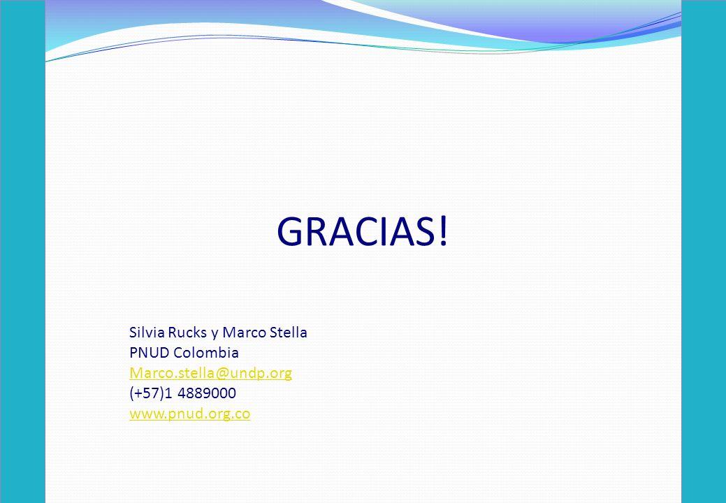 GRACIAS! Silvia Rucks y Marco Stella PNUD Colombia
