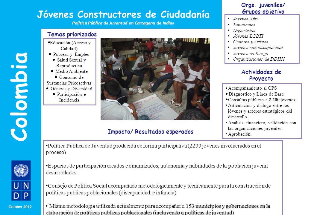 Colombia Jóvenes Constructores de Ciudadanía Temas priorizados