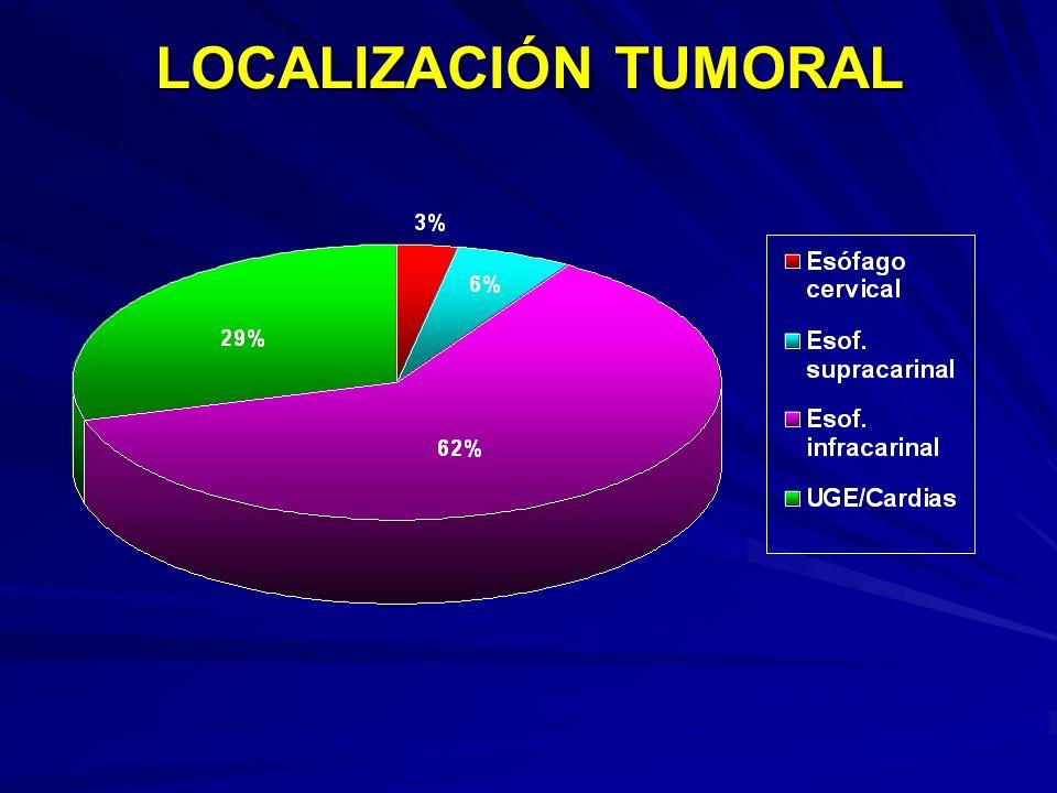 LOCALIZACIÓN TUMORAL 3 % cervical 6 % supracarinal 29 % UGE/Cardias