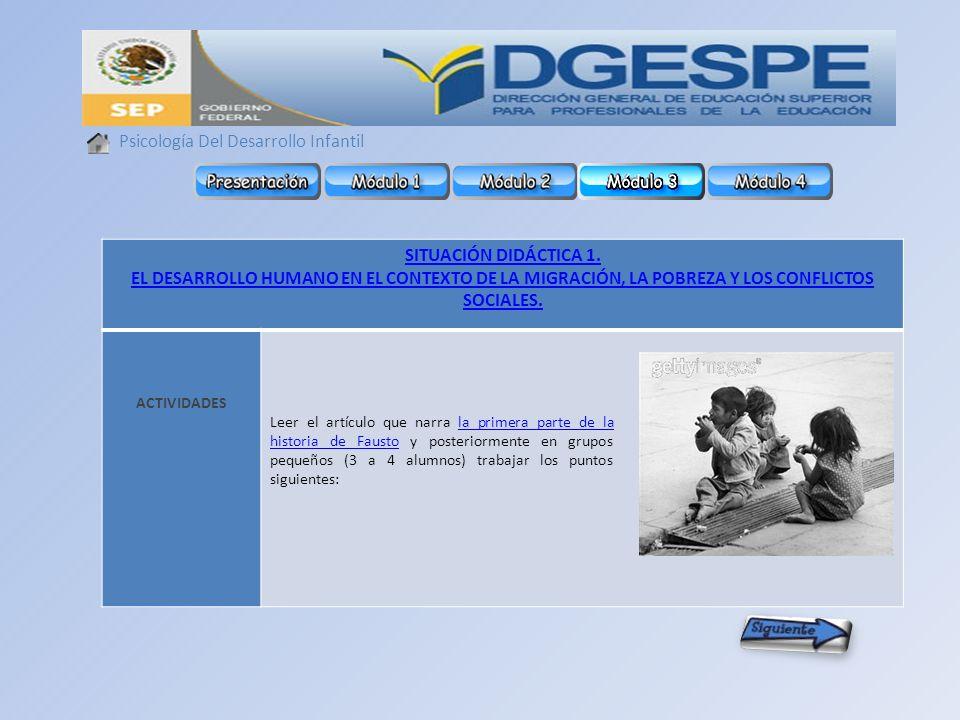Psicología Del Desarrollo Infantil SITUACIÓN DIDÁCTICA 1.