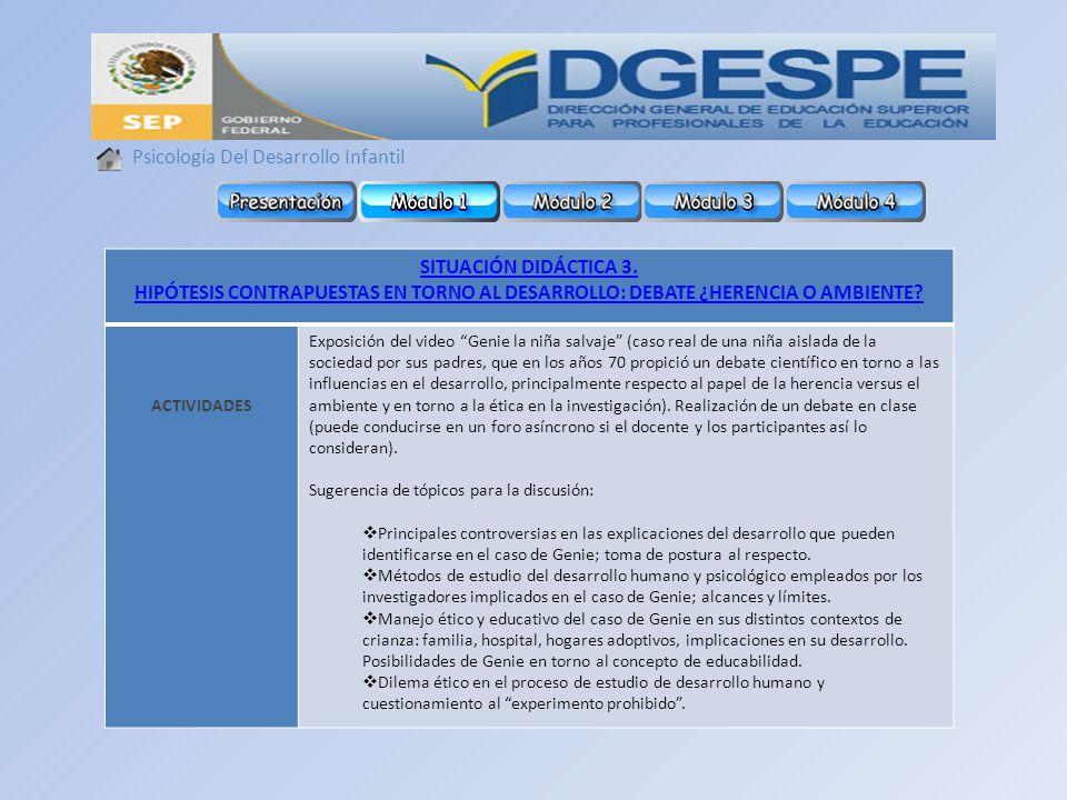 Psicología Del Desarrollo Infantil SITUACIÓN DIDÁCTICA 3.