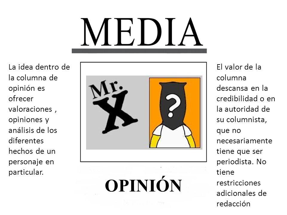 La idea dentro de la columna de opinión es ofrecer valoraciones , opiniones y análisis de los diferentes hechos de un personaje en particular.