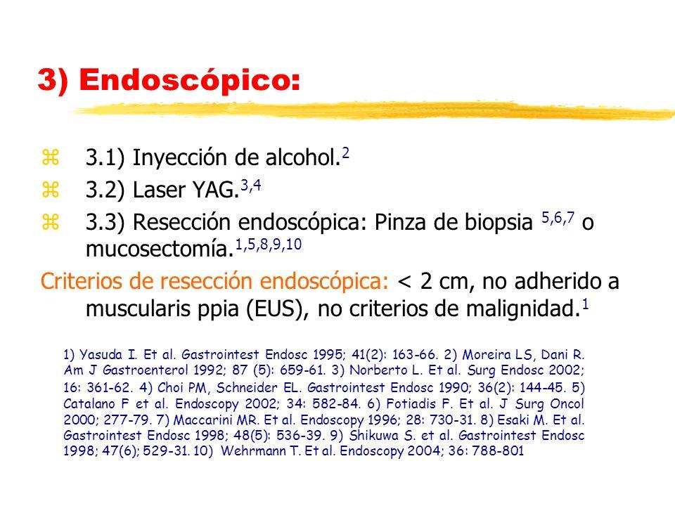 3) Endoscópico: 3.1) Inyección de alcohol.2 3.2) Laser YAG.3,4