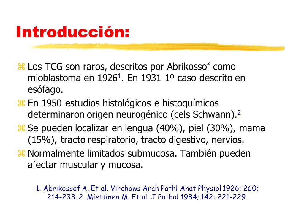 Introducción: Los TCG son raros, descritos por Abrikossof como mioblastoma en 19261. En 1931 1º caso descrito en esófago.