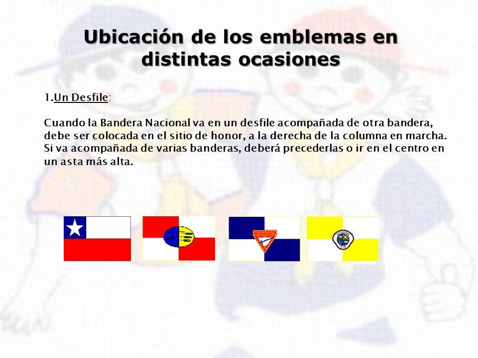 Ubicación de los emblemas en distintas ocasiones