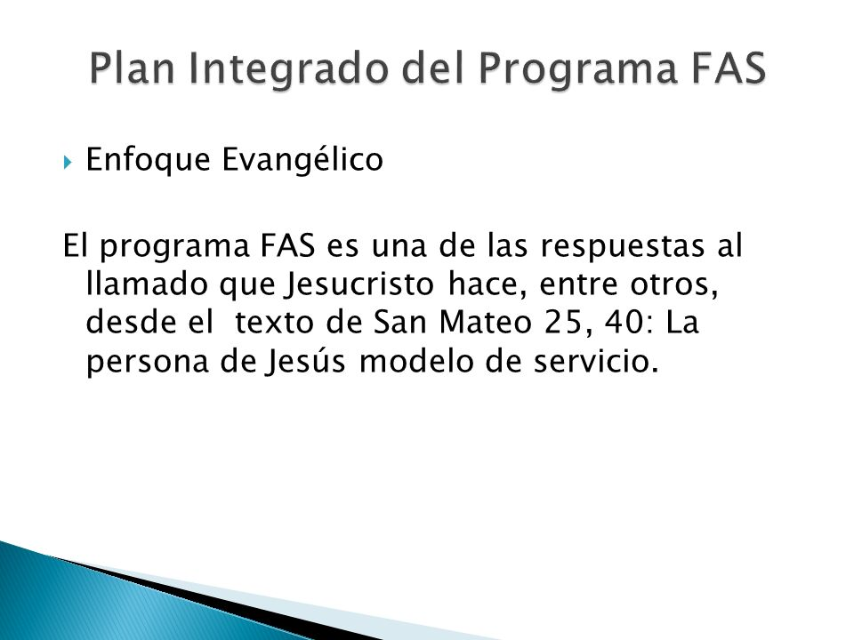 Plan Integrado del Programa FAS