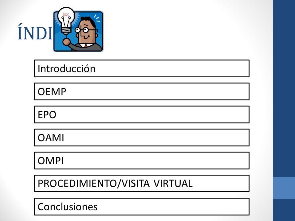 ÍNDICE Introducción OEMP EPO OAMI OMPI PROCEDIMIENTO/VISITA VIRTUAL