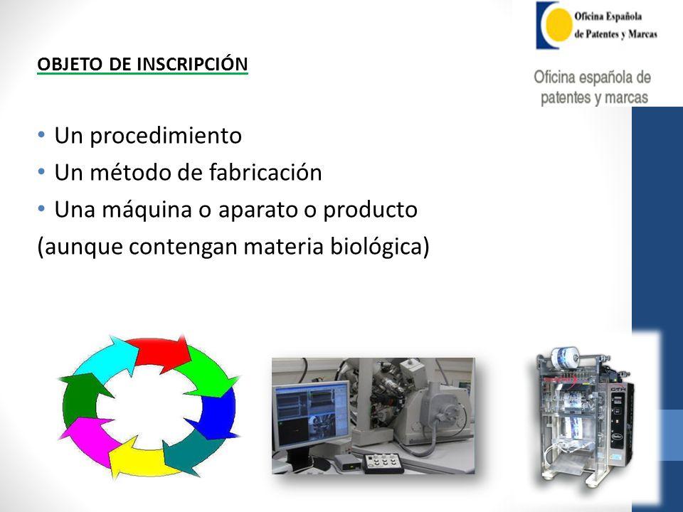 Un método de fabricación Una máquina o aparato o producto