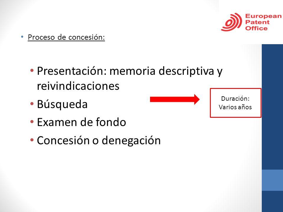 Presentación: memoria descriptiva y reivindicaciones Búsqueda