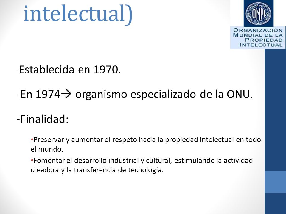 OMPI (Organización mundial de la propiedad intelectual)