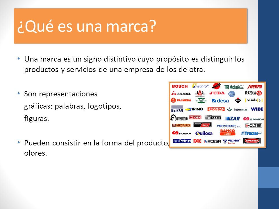 ¿Qué es una marca Una marca es un signo distintivo cuyo propósito es distinguir los productos y servicios de una empresa de los de otra.