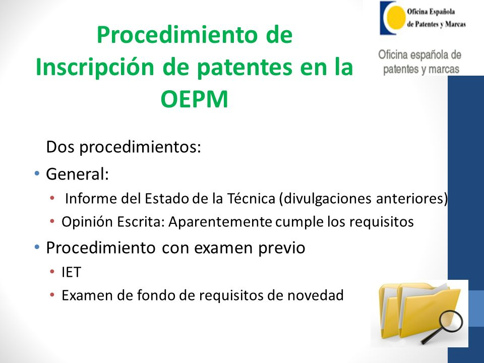 Inscripción de patentes en la OEPM