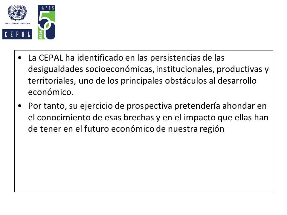 La CEPAL ha identificado en las persistencias de las desigualdades socioeconómicas, institucionales, productivas y territoriales, uno de los principales obstáculos al desarrollo económico.