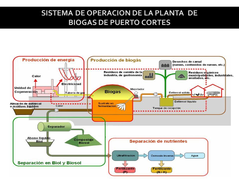 SISTEMA DE OPERACION DE LA PLANTA DE BIOGAS DE PUERTO CORTES