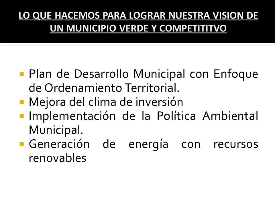 Plan de Desarrollo Municipal con Enfoque de Ordenamiento Territorial.