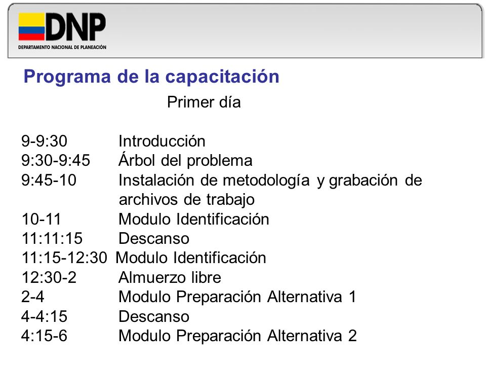 Programa de la capacitación