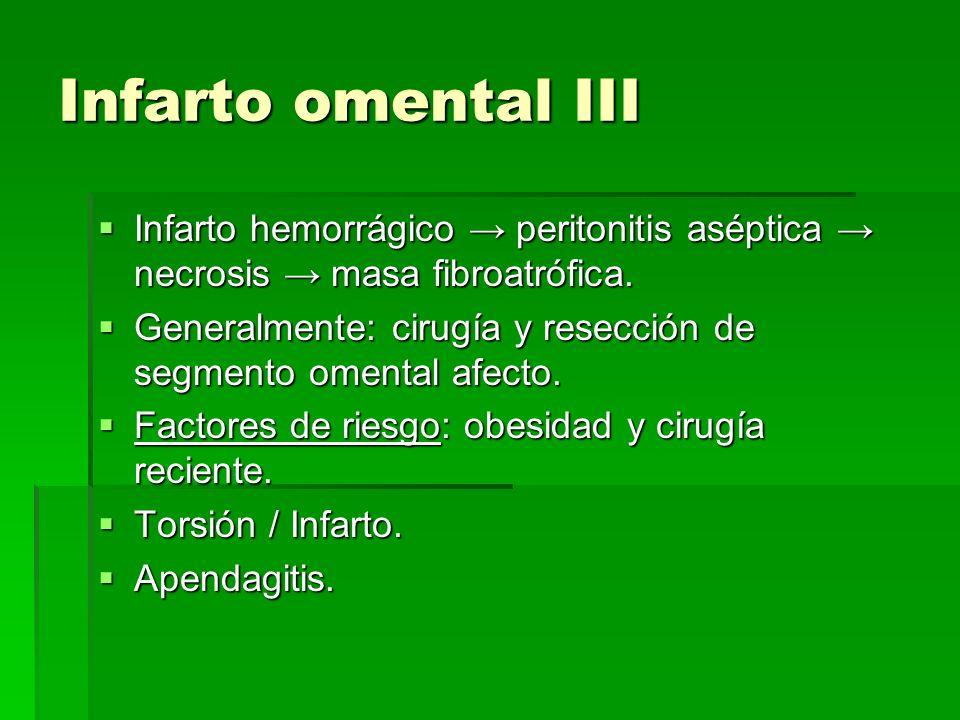 Infarto omental III Infarto hemorrágico → peritonitis aséptica → necrosis → masa fibroatrófica.