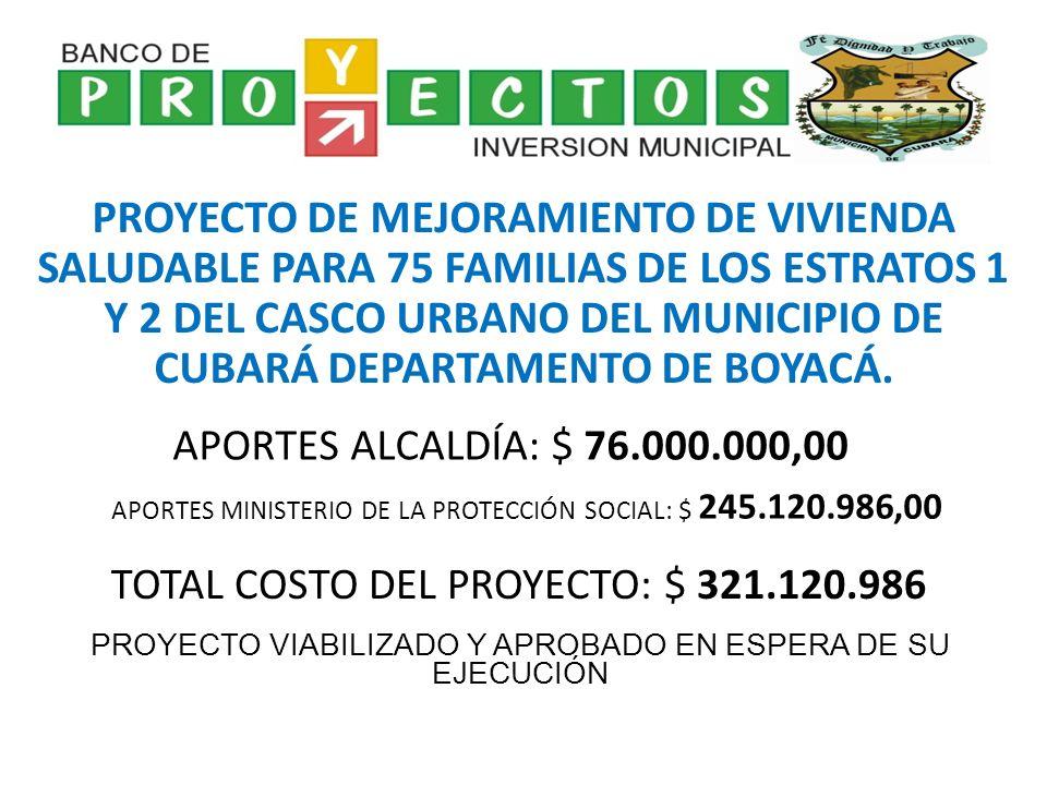 PROYECTO DE MEJORAMIENTO DE VIVIENDA SALUDABLE PARA 75 FAMILIAS DE LOS ESTRATOS 1 Y 2 DEL CASCO URBANO DEL MUNICIPIO DE CUBARÁ DEPARTAMENTO DE BOYACÁ.