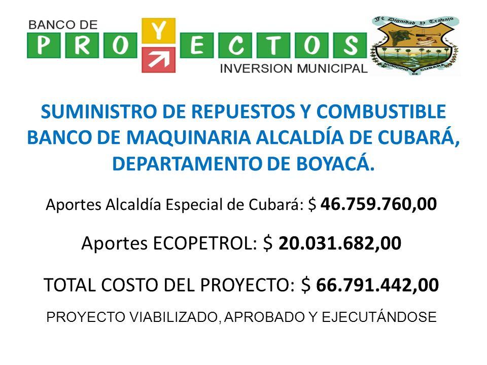 SUMINISTRO DE REPUESTOS Y COMBUSTIBLE BANCO DE MAQUINARIA ALCALDÍA DE CUBARÁ, DEPARTAMENTO DE BOYACÁ.