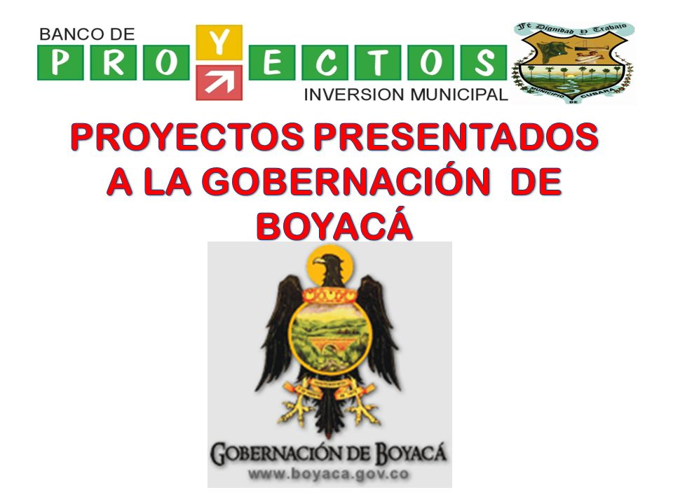 PROYECTOS PRESENTADOS A LA GOBERNACIÓN DE BOYACÁ