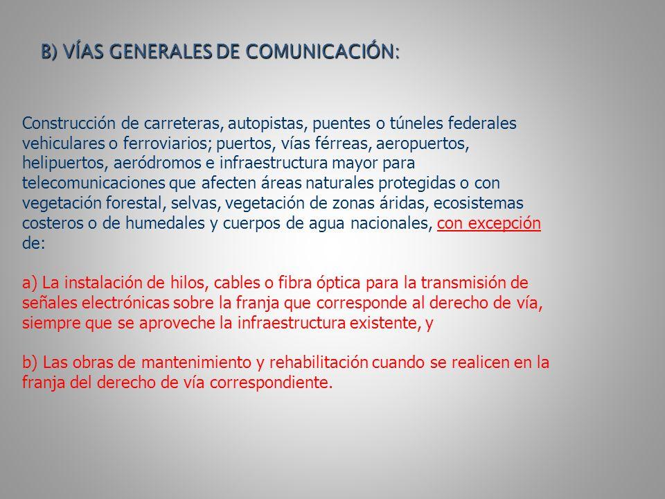 B) VÍAS GENERALES DE COMUNICACIÓN: