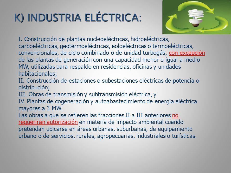K) INDUSTRIA ELÉCTRICA:
