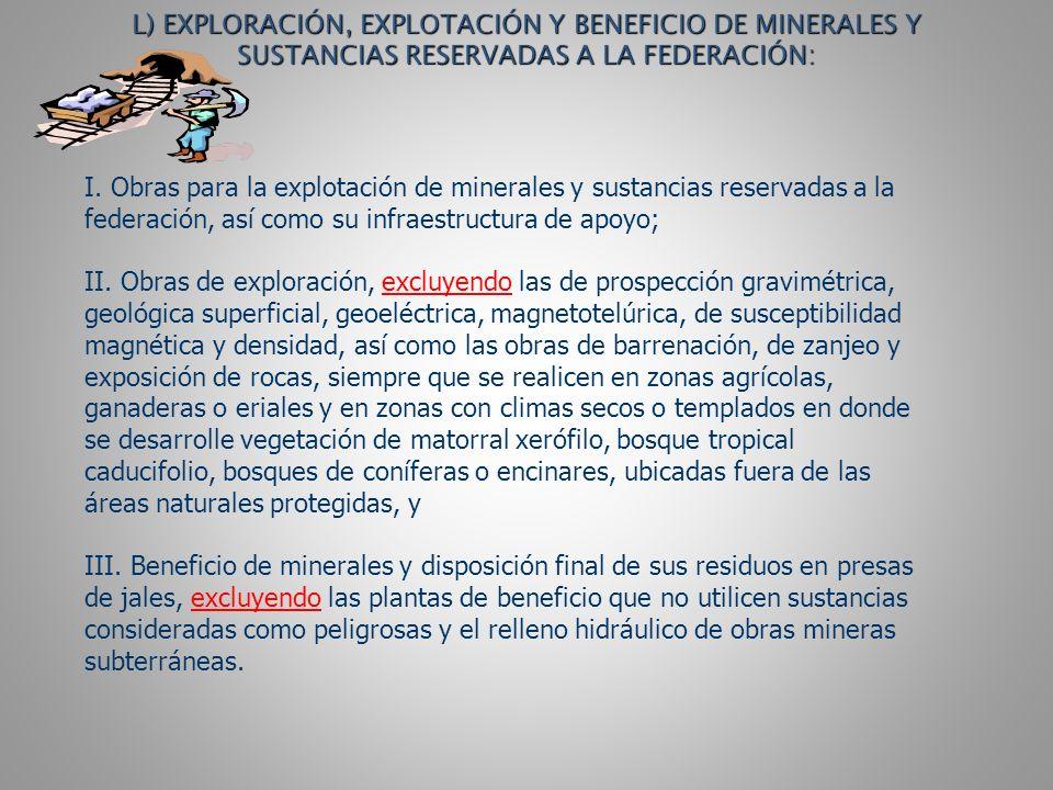 L) EXPLORACIÓN, EXPLOTACIÓN Y BENEFICIO DE MINERALES Y SUSTANCIAS RESERVADAS A LA FEDERACIÓN: