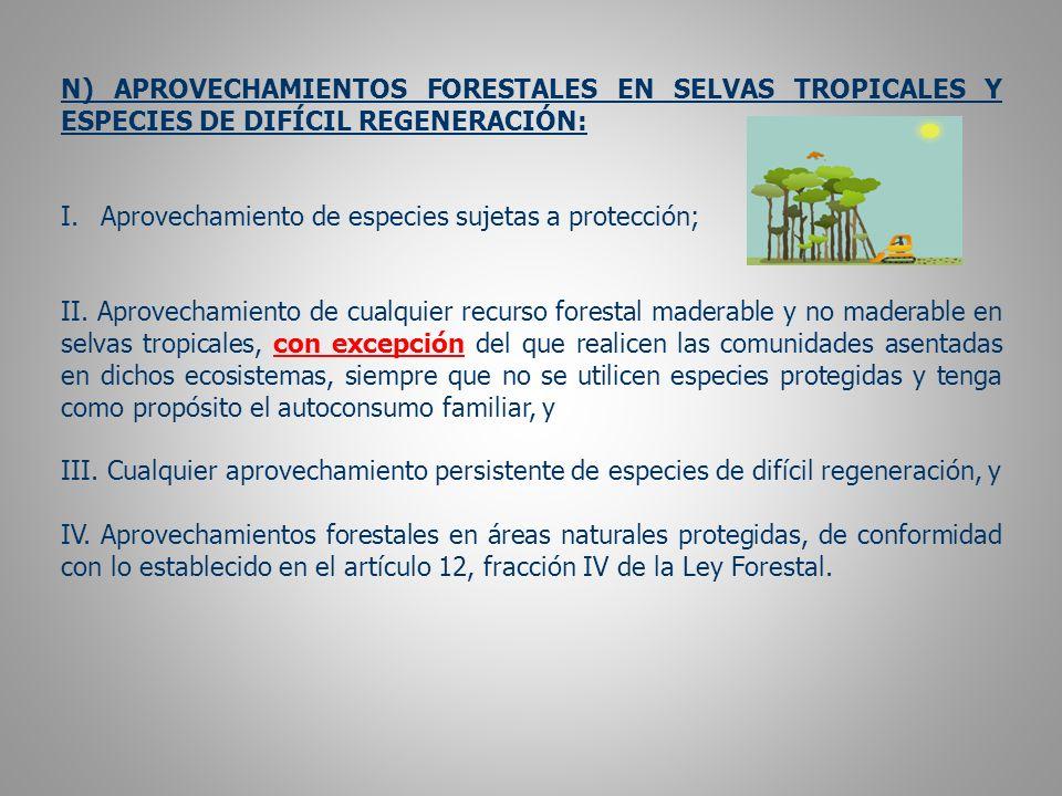 N) APROVECHAMIENTOS FORESTALES EN SELVAS TROPICALES Y ESPECIES DE DIFÍCIL REGENERACIÓN: