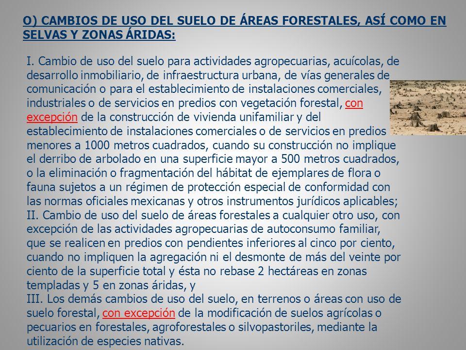O) CAMBIOS DE USO DEL SUELO DE ÁREAS FORESTALES, ASÍ COMO EN SELVAS Y ZONAS ÁRIDAS: