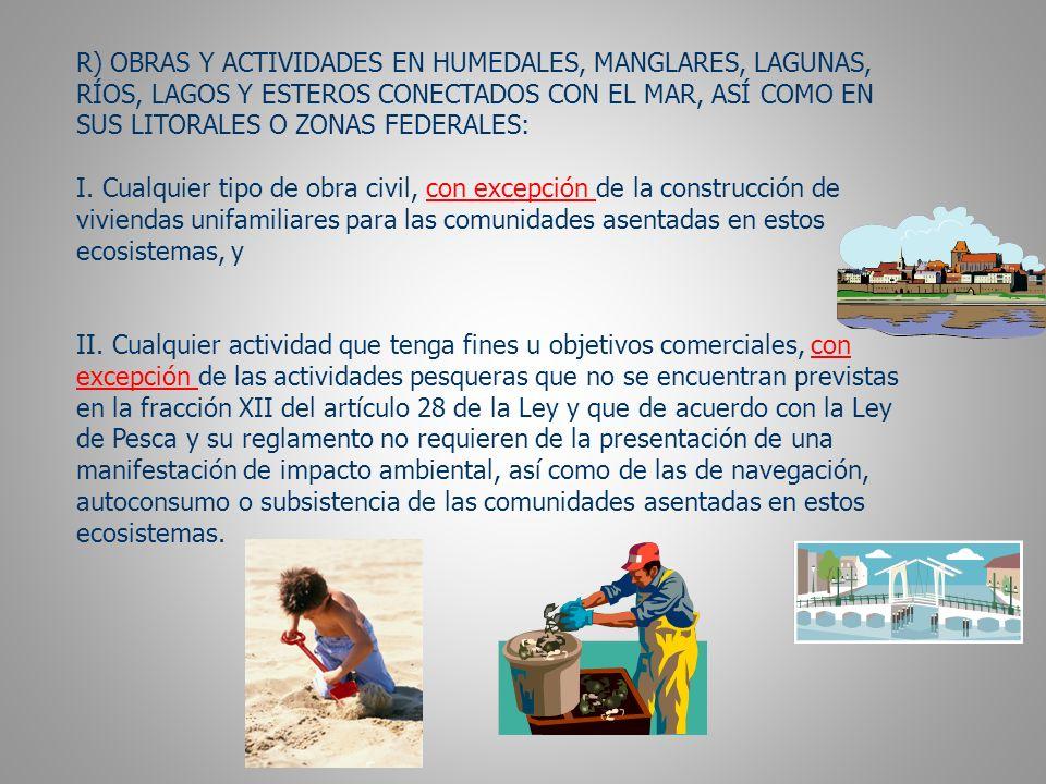 R) OBRAS Y ACTIVIDADES EN HUMEDALES, MANGLARES, LAGUNAS,