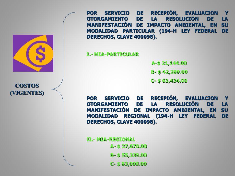 POR SERVICIO DE RECEPIÓN, EVALUACION Y OTORGAMIENTO DE LA RESOLUCIÓN DE LA MANIFESTACIÓN DE IMPACTO AMBIENTAL, EN SU MODALIDAD PARTICULAR (194-H LEY FEDERAL DE DERECHOS, CLAVE 400098).