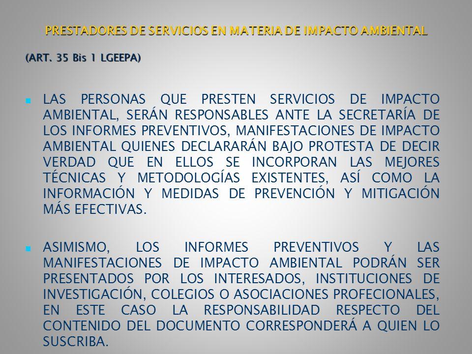 PRESTADORES DE SERVICIOS EN MATERIA DE IMPACTO AMBIENTAL