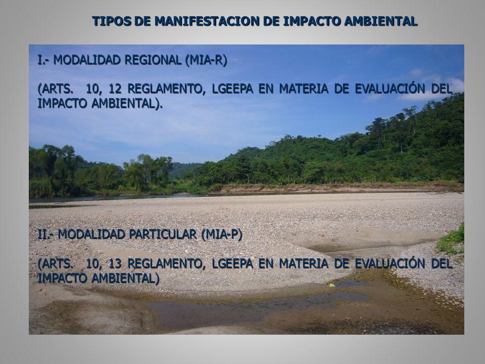 TIPOS DE MANIFESTACION DE IMPACTO AMBIENTAL