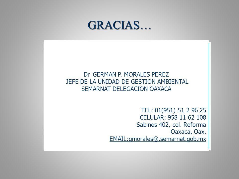 GRACIAS… Dr. GERMAN P. MORALES PEREZ