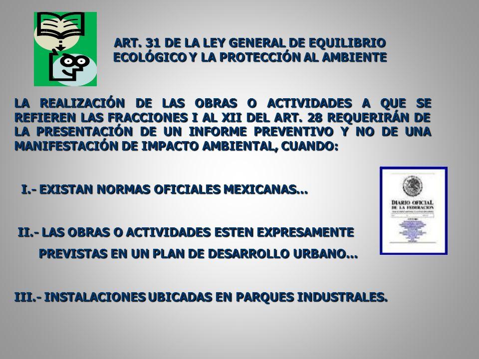 ART. 31 DE LA LEY GENERAL DE EQUILIBRIO ECOLÓGICO Y LA PROTECCIÓN AL AMBIENTE