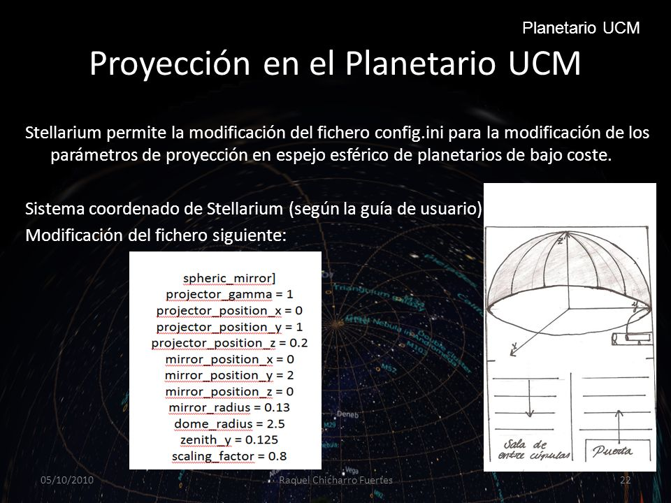 Proyección en el Planetario UCM