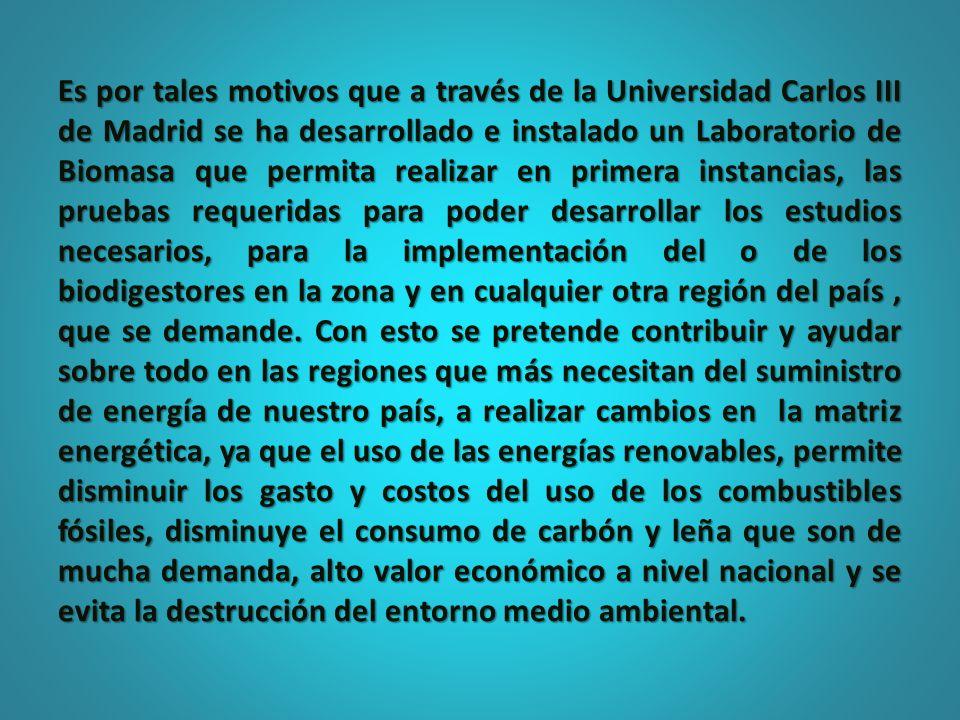 Es por tales motivos que a través de la Universidad Carlos III de Madrid se ha desarrollado e instalado un Laboratorio de Biomasa que permita realizar en primera instancias, las pruebas requeridas para poder desarrollar los estudios necesarios, para la implementación del o de los biodigestores en la zona y en cualquier otra región del país , que se demande.
