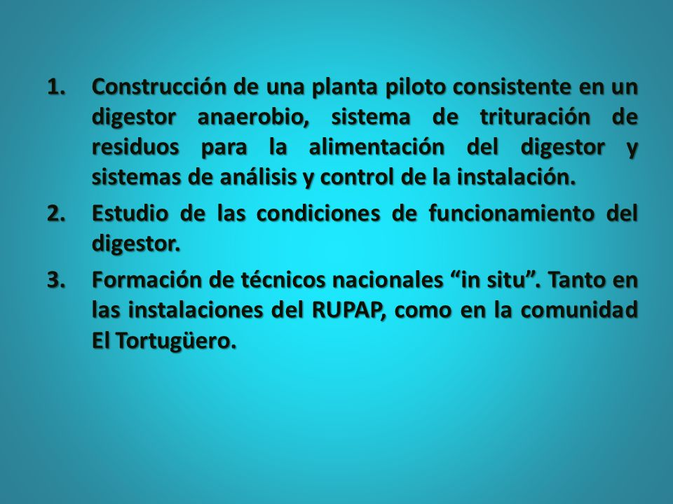 Construcción de una planta piloto consistente en un digestor anaerobio, sistema de trituración de residuos para la alimentación del digestor y sistemas de análisis y control de la instalación.