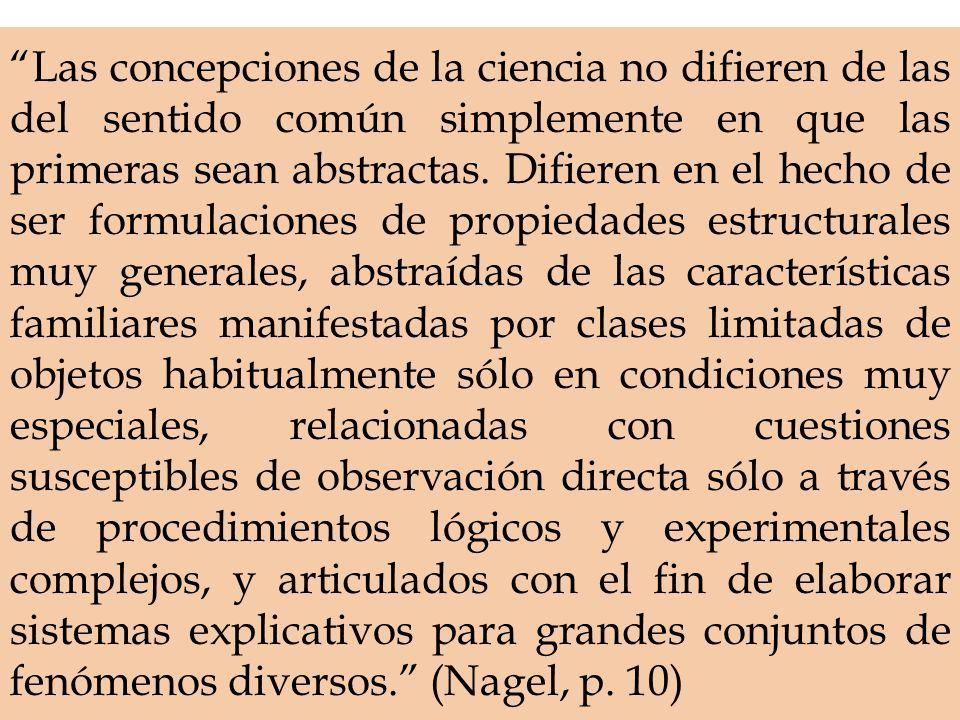 Las concepciones de la ciencia no difieren de las del sentido común simplemente en que las primeras sean abstractas.