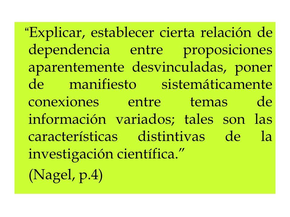 Explicar, establecer cierta relación de dependencia entre proposiciones aparentemente desvinculadas, poner de manifiesto sistemáticamente conexiones entre temas de información variados; tales son las características distintivas de la investigación científica.