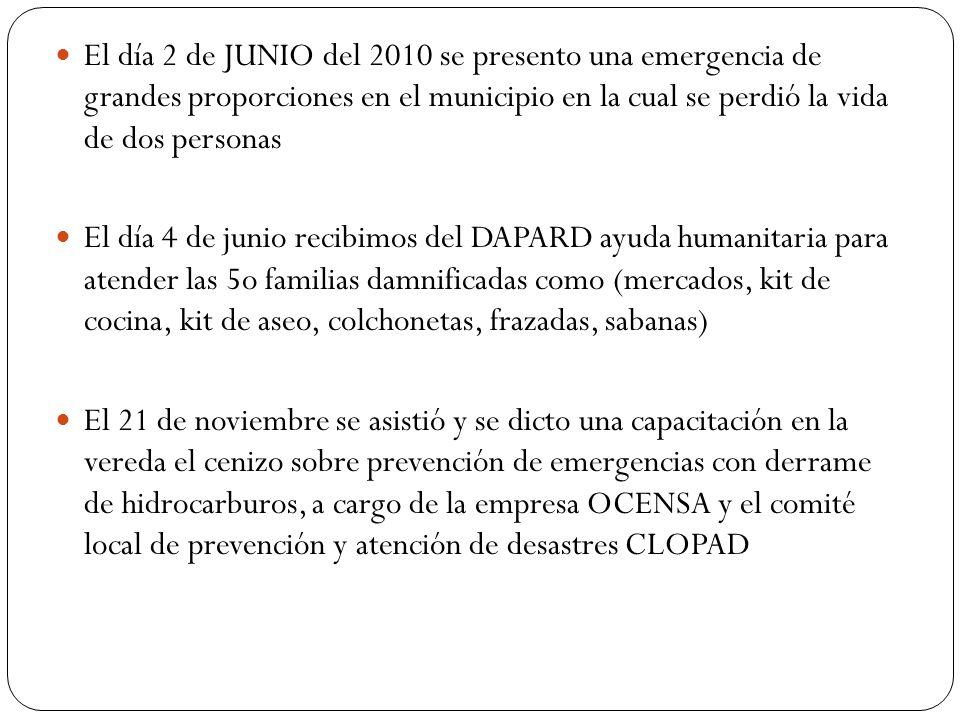 El día 2 de JUNIO del 2010 se presento una emergencia de grandes proporciones en el municipio en la cual se perdió la vida de dos personas