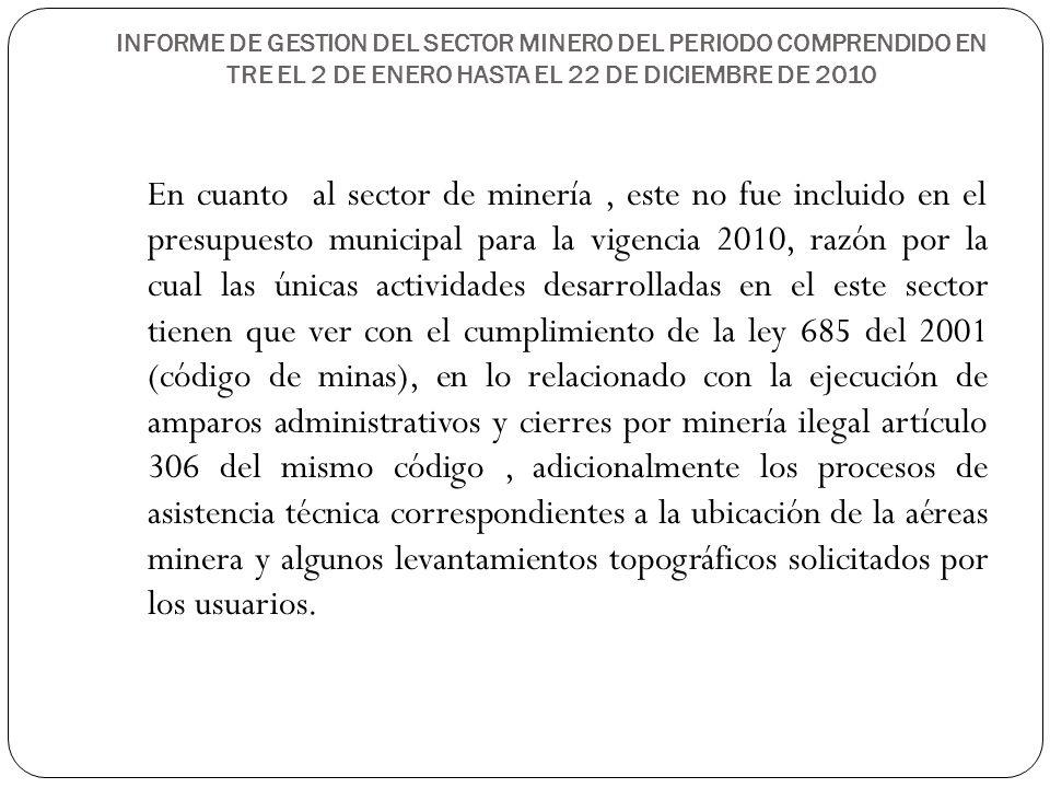 INFORME DE GESTION DEL SECTOR MINERO DEL PERIODO COMPRENDIDO EN TRE EL 2 DE ENERO HASTA EL 22 DE DICIEMBRE DE 2010