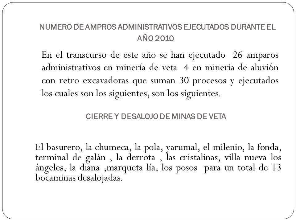 NUMERO DE AMPROS ADMINISTRATIVOS EJECUTADOS DURANTE EL AÑO 2010