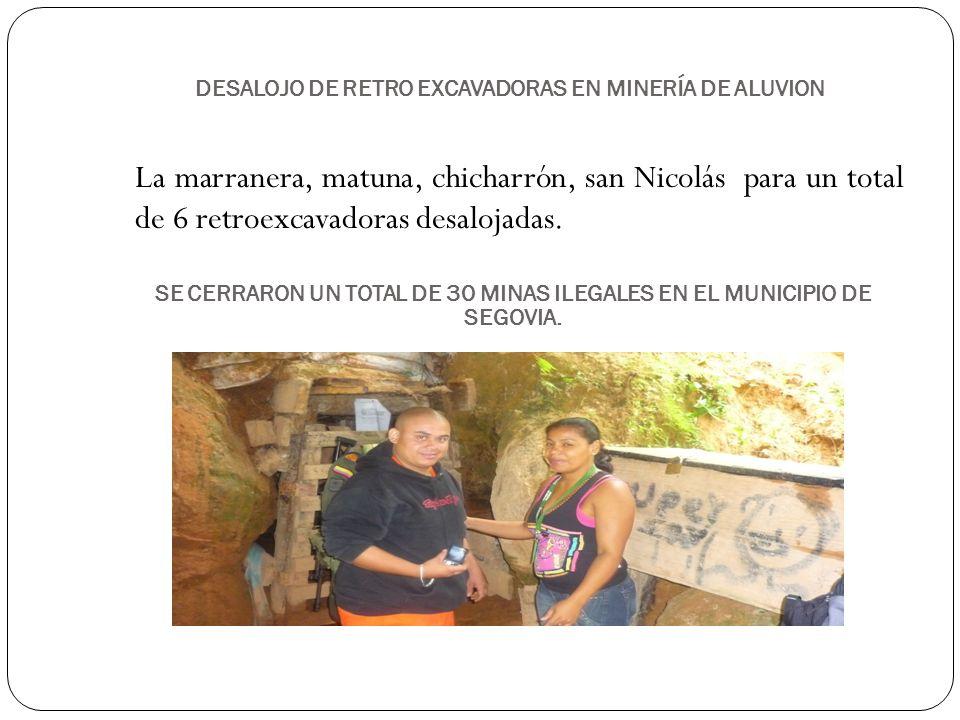 DESALOJO DE RETRO EXCAVADORAS EN MINERÍA DE ALUVION