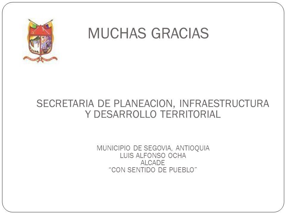 MUCHAS GRACIASSECRETARIA DE PLANEACION, INFRAESTRUCTURA Y DESARROLLO TERRITORIAL. MUNICIPIO DE SEGOVIA, ANTIOQUIA.